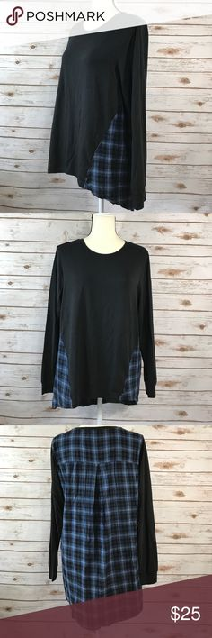 7FAMK Long Sleeve Top With Plaid Flannel Back This is a 7FAMK long sleeve top with a high low hem line and a plaid flannel back. The top is in a size medium and is in excellent condition. Thanks! 7 For All Mankind Tops Tees - Long Sleeve