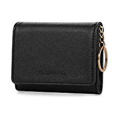 Gold Gift Purse Lecxci Mens Womens Leather Zip Round Coin Pouch Change Purse with Key Ring Card Case Wallet ID Window