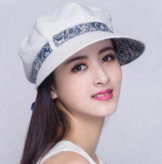 Ethnic style newsboy cap for women bow decoration uv protection  sun caps