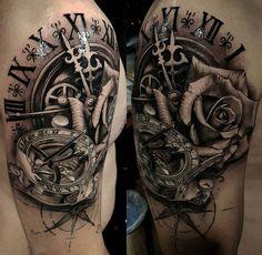 Sundial Compass, Clock & Rose http://tattoo-ideas.com/sundial-compass/