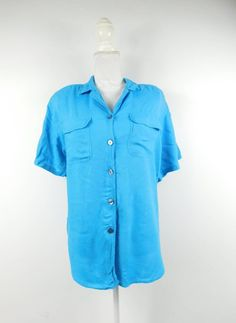 20710121134fb5 50% SUMMER SALE Vintage Ashleigh Morgan Turquoise Blue Rayon Short Sleeve  Pocket Button Down Collared Minimalist Shirt Top Blouse Large
