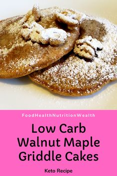 Is this breakfast or dessert? These Maple Walnut Griddle Cakes are low carb and a perfect balance to your typical savoury breakfast! Savory Breakfast, Low Carb Breakfast, Breakfast Dessert, Healthy Breakfast Recipes, Low Carb Desserts, Low Carb Recipes, Dessert Recipes, Griddle Cakes, Maple Walnut