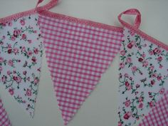 10 x 10 mt  100mt garden party bunting pink small check & pink flowers