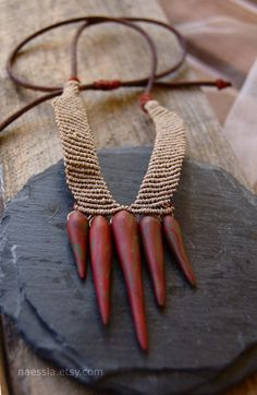 Tribal necklace rust red micro macrame by naessla on Etsy.