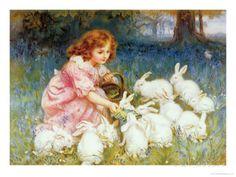 De konijnen voeren Gicléedruk van Frederick Morgan bij AllPosters.nl