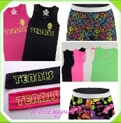 Multi Neon Tennis Headband, Tank Top and Shorts Collection | Tennis Tank Top, Soffe Printed Shorts, Tennis Headband | Handmade | Machine Wash | ViVi Designs Boutique | Girls 6-12 | Gifts for Girls | Tennis Players Gifts | Personalized | $54.99