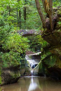 Hocking Hills State Park Ohio. Old Mans Cave Gorge. Waterfall and Brick Bridge. Photo by Dan Leeson Photography.