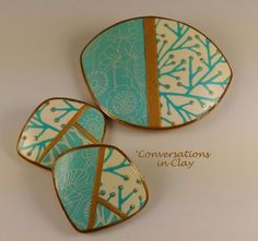 by Keryn Wells, owner of Conersations in Clay, Aqua Patchwork - polymer clay screen printing