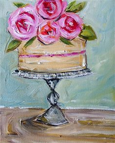 Cake Oil Painting Canvas Roses by DevinePaintings on Etsy