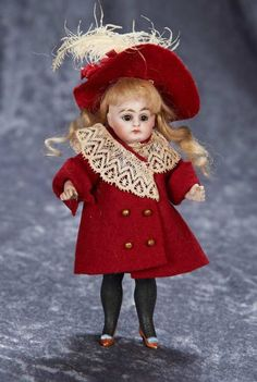 """6"""" German All-Bisque Doll with Rare Boots and Shoes, Antique Costume, Simon and Halbig 300/600 Auctions Online 