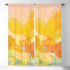Abstract Spring Sun Blackout Window Curtains & Drapes by Lalunetricotee - x - Set of Two