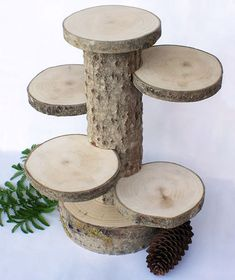 Large 4 Tiered Rustic Cup Cake Stand. Wood Stand. von exstore