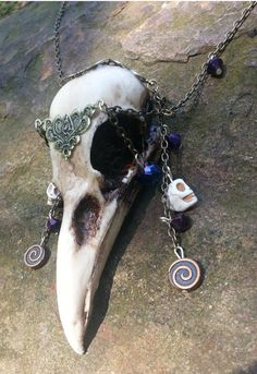 Spirit of the Morrigan Raven Skull  necklace by BadbsCauldron