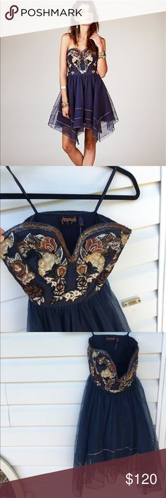 Free people formal embroidered tulle skirt dress Perfect condition never worn. Non smoking and non pet home Free People Dresses Prom