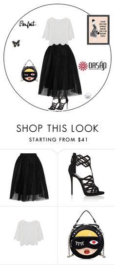 """black dress"" by oasap ❤ liked on Polyvore featuring Topshop and Giuseppe Zanotti"