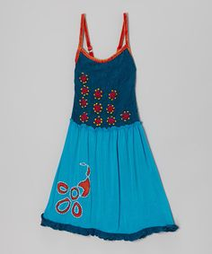 Look at this #zulilyfind! Medium & Ocean Blue Floral Dress - Girls #zulilyfinds