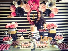 Black, white, pink and a little golden. Birthday Party Ideas   Photo 6 of 13   Catch My Party