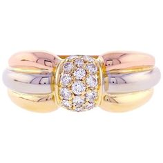 Preowned Cartier Trinity De Cartier Pavé Diamond Gold Ring (8,995 AED) ❤ liked on Polyvore featuring jewelry, rings, band rings, multiple, band jewelry, gold band ring, cartier jewelry, gold ring and yellow gold rings