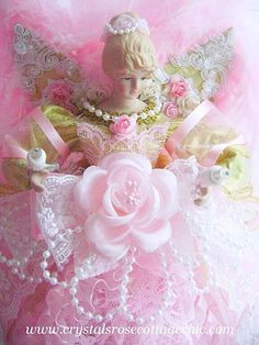 Shabby Chic Pink and Gold Glam Angel Christmas Tree Topper Victorian Lace Rose. $49.95, via Etsy.