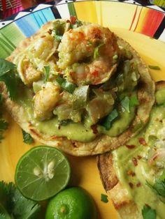 Grilled shrimp tostada  we ith creamy avocado sauc3