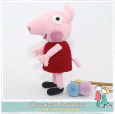 Peppa Pig CROCHET PATTERN on CD Peppa Pig Amigurumi Pattern Amigurumi Pig