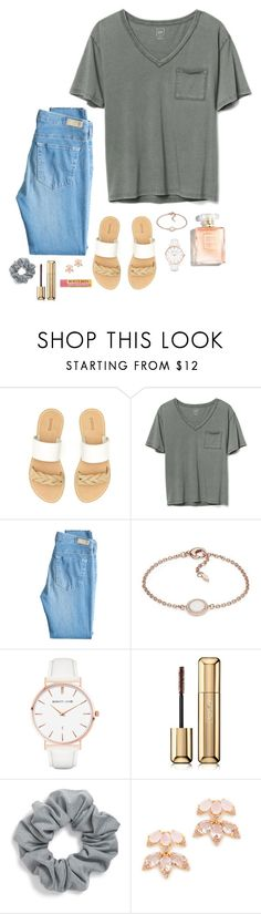 """""""Simple girl"""" by rachel-lynn5 ❤ liked on Polyvore featuring Soludos, Gap, AG Adriano Goldschmied, FOSSIL, Abbott Lyon, Guerlain, Natasha and Kate Spade"""