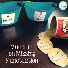 """Practice sorting """"chip"""" sentences by punctuation marks. You can also sort them onto labeled paper plates. Great for writing centers or whole group! Reading Stations, Literacy Stations, Reading Centers, Writing Centers, Literacy Centers, Punctuation Activities, Grammar And Punctuation, Literacy Activities, Grammar Rules"""