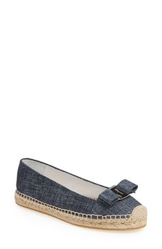 """Free shipping and returns on Salvatore Ferragamo 'Mandy' Espadrille Flat (Women) at Nordstrom.com. <p><B STYLE=""""COLOR:#990000"""">Pre-order this style today! Add to Shopping Bag to view approximate ship date. You'll be charged only when your item ships.</b></p><br>A logo-etched bow adds signature appeal to a feminine espadrille flat for classic sophistication."""