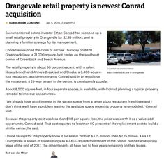 ARTICLE: Orangevale Retail Property is Newest Conrad Acquisition - Ethan Conrad Properties Real Estate Investor, Investors, Articles, Retail, How To Plan, News, Sleeve, Retail Merchandising