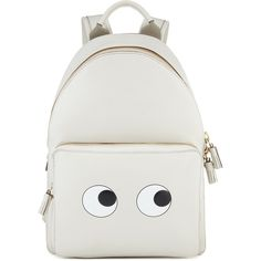 Anya Hindmarch Eyes Right Mini Chalk Backpack (35.010 CZK) ❤ liked on Polyvore featuring bags, backpacks, backpack, mini backpack, anya hindmarch bag, knapsack bags, rucksack bag and mini bag