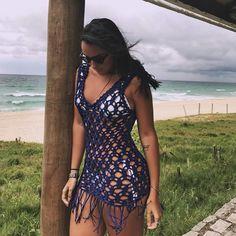 43 Ideas crochet summer vest pattern beach covers for 2019 Crochet Beach Dress, Crochet Bikini, Crochet Summer, Mode Du Bikini, Sexy Outfits, Fashion Outfits, Crochet Cover Up, Beach Attire, Vest Pattern