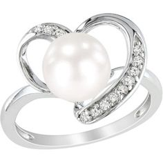 Miabella 8-8.5mm White Cultured Freshwater Pearl and 1/10 Carat T.W. Diamond Fashion Ring in Sterling Silver