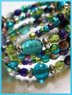 Bridesmaid Memory Wire Bracelet with Teal by Tammiestephensdesign, $25.00
