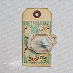Fabric scraps, buttons, tea pot, & lace on tags or note cards-? Both! MW