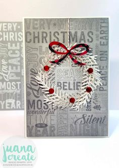 Juana Ambida | Pines Wreath with Merry Medley| Case this card challenge…