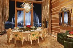 Wynn Palace Cotai | The Roger Thomas Collection | Ling Wing Lei's Private Rooms overlooking Performance Lake Featuring a custom Maya Romanoff Bravado and Gilded Cloth wallcovering.
