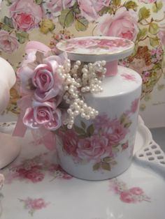 Roses and Pearls large embellished jar