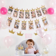 Princess 1st Birthday Milestone Banners (3) and Cake Topper (1)