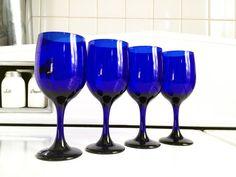 Cobalt Blue Wine Glasses, Set of 4