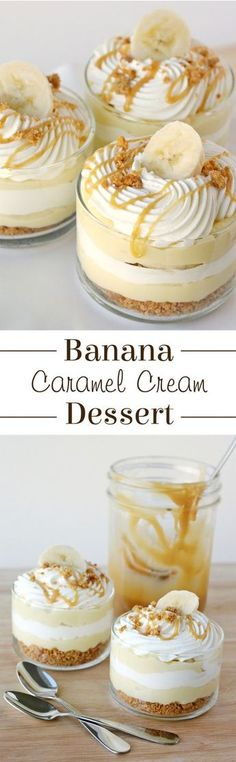 Food design Dessert - This Banana Caramel Cream Dessert is simply one of the most delicious desserts ever! Sweet, creamy, crunchy this dessert has it all! Mini Desserts, Easy Desserts, Delicious Desserts, Yummy Food, Desserts Caramel, Easy Sweets, Beste Desserts, French Desserts, Holiday Desserts