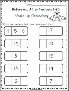Free Groundhog Day math worksheet for preschool and kindergarten. Students write the numbers that come before and after. This is a fun February activity Kindergarten Books, Kindergarten Math Worksheets, Preschool Math, Teaching Math, Lkg Worksheets, Weather Worksheets, Number Worksheets, Alphabet Worksheets, Groundhog Day Activities