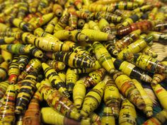400 Yellow Hand Rolled Paper Beads Yellow by NyakaGrandmotherShop