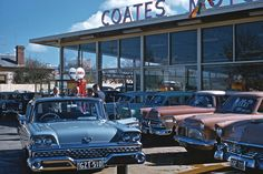 """This is a photo taken by a customer at a new-car dealership in Melbourne, Australia in 1959, while considering a purchase of a 1959 Ford """"Yank tank""""."""
