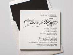 Clic Black Type On Opaque White Plastic Brunch Invitations Invites Envelopes