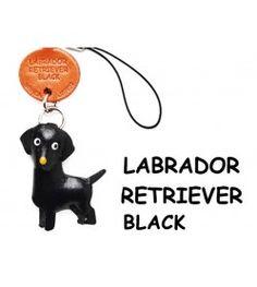 Labrador Retriever Black Leather Cellularphone Charm