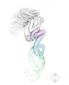 8x10 inch PRINT Mother Mermaid and Rainbow Baby Colour Splash Rainbow Tail Tattoo Art Print Pencil D
