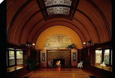 Frank Lloyd Wright's first house. Chicago. lived here with his family. This was the kids play room