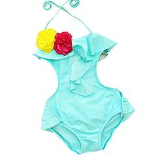 HLWLWOLFOYC Baby Girls Flower Backless Halter One Piece Swimsuit Blue -- For more information, visit image link.