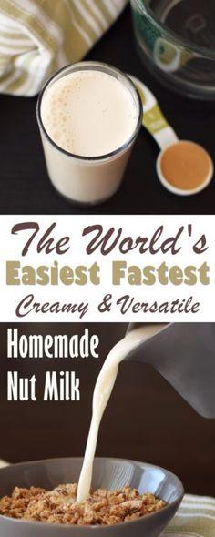 Instant Homemade Nut Milk - just 2 minutes to creamy, dairy-free, vegan & paleo almond or cashew milk beverage