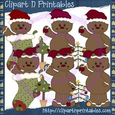 Christmas Gingy- #Clipart #ResellableClipart #Christmas #Gingerbread #Stockings #ChristmasTrees #Stars #Ornaments